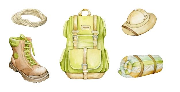 Rucksack, grün, aus canvas, mit lederriemen. aquarellzeichnung, zubehör, für die reise.