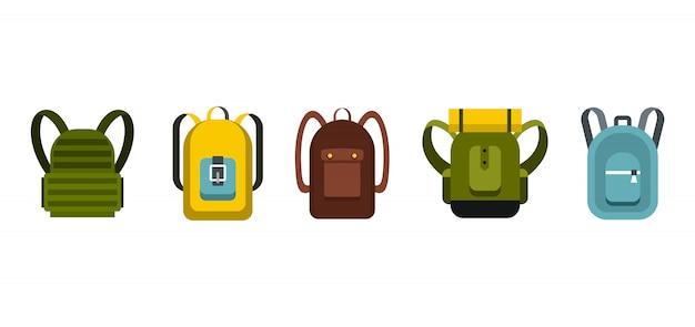 Rucksack-icon-set. flacher satz der rucksackvektor-ikonensammlung lokalisiert