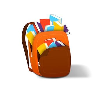 Rucksack in dem sich bücher befinden