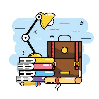 Rucksack mit büchern und diplom, um die schule zu unterstützen