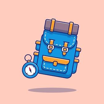 Rucksack mit kompass-cartoon-illustration. wandern und reisen icon concept