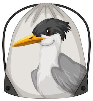 Rucksack mit kordelzug mit vogelmuster