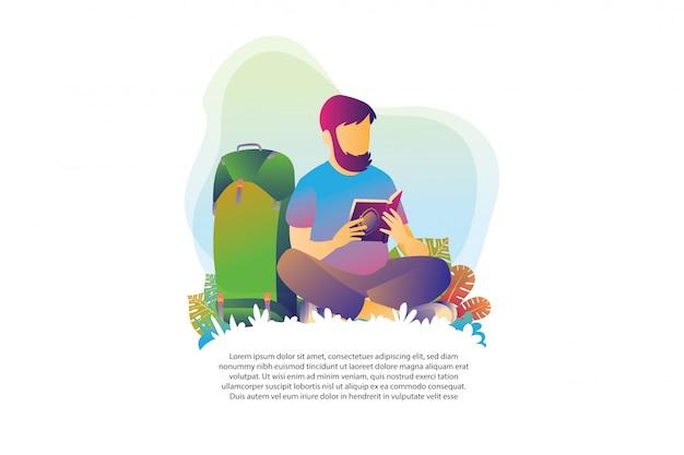 Rucksacktouristen lesen den koran