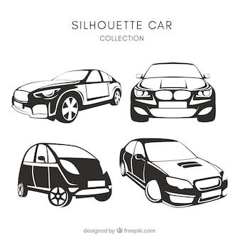 Rudel von vier auto-silhouetten
