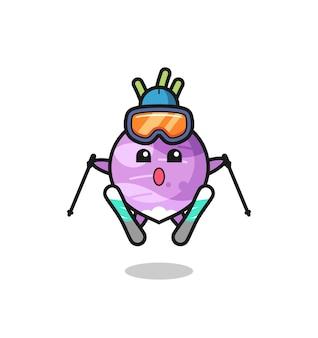 Rüben-maskottchen-charakter als skispieler, süßes stildesign für t-shirt, aufkleber, logo-element