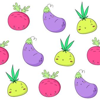Rübenzwiebeln und auberginenmuster