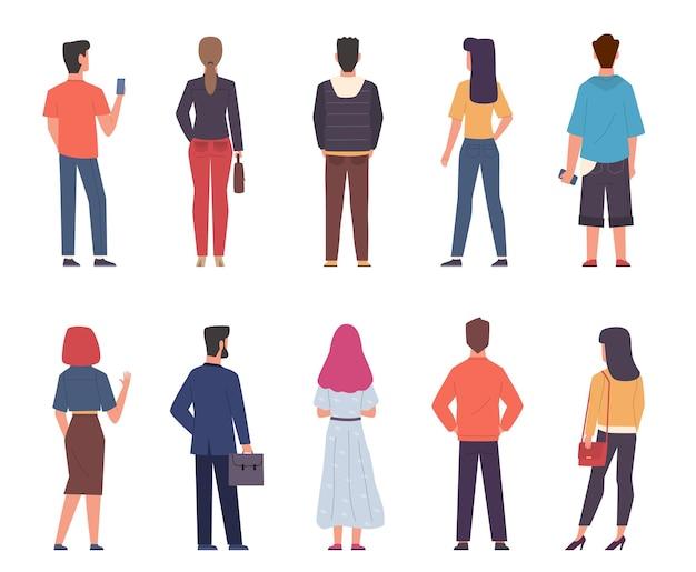Rückansicht der leute. männer, frauen in moderner freizeitkleidung, die in verschiedenen posen zusammenstehen, männliche und weibliche personen von der rückseite mit telefonen und taschenkollektion. flache isolierte vektorzeichen