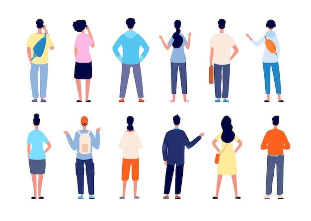 Rückansicht der leute. mann stehend, isolierte personen von rücken. flache büroteamrückseite, verschiedene junge männliche weibliche zufällige vektorfiguren. rückseite verschiedene leute, stehende illustration der menschlichen gruppe