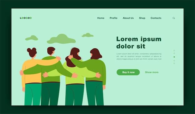 Rückansicht der teammitglieder, die zusammen flache illustration stehen. cartoon-menschen umarmen und freuen uns. community-, diversity- und kommunikationskonzept-landingpage
