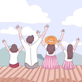Rückansicht des glücklichen familienreisenden hob hand über kopf-rückansicht sie sitzen auf holzboden und freuen sich auf naturansicht, flache illustration der zeichentrickfigur