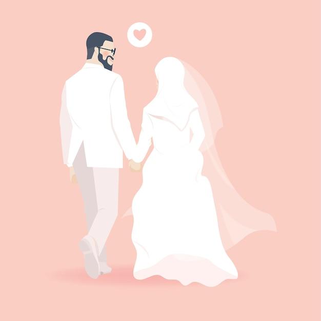 Rückansicht des niedlichen muslimischen hochzeitspaares, das hände illustration mit zuneigungsblick hält