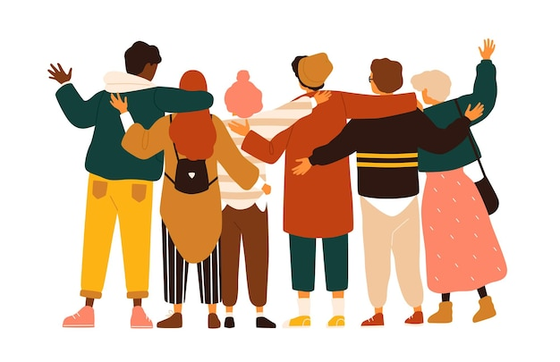 Rückansicht von jungen und mädchen im teenageralter oder schulfreunden, die zusammen stehen, sich umarmen und hände winken