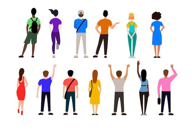 Rückansicht von menschen in freizeitkleidung illustrationen set
