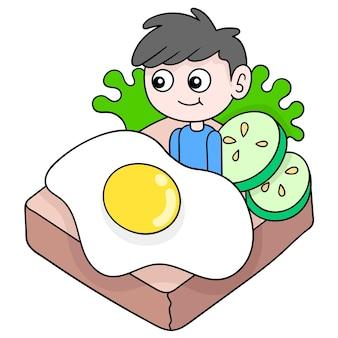 Rührei-sandwich für ein köstliches frühstück, vektorgrafiken. doodle symbolbild kawaii.