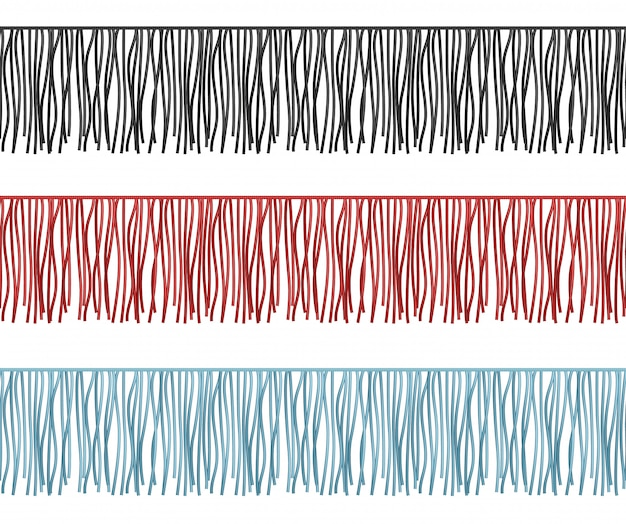 Rüschen umranden, nahtlose reihenvektorkleiderkomponente der franse. illustration der bürstengrenze mit quaste und ordnung