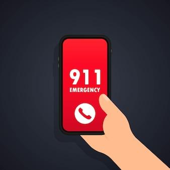 Rufen sie das 911-symbol oder den notruf und die erste hilfe an
