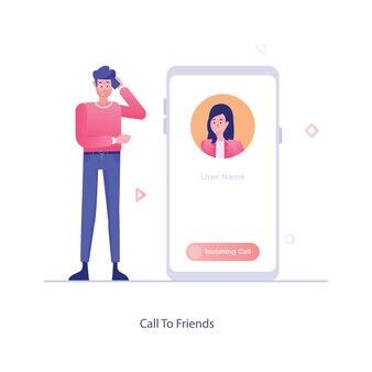 Rufen sie freunde an, mobiles kommunikationskonzept im vektorstil
