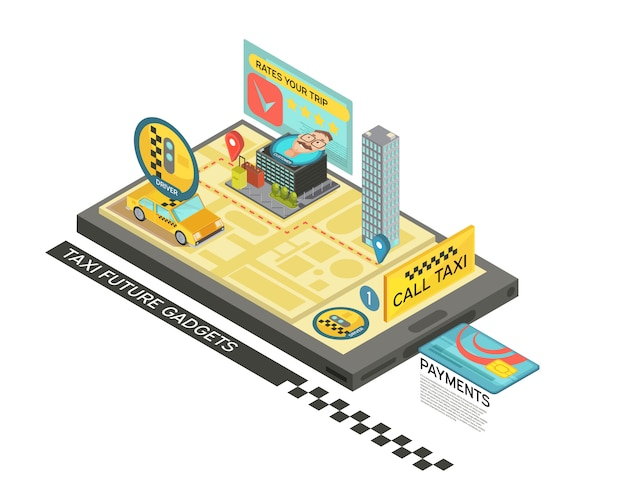 Rufen sie taxi durch isometrisches design des geräts mit auto, karte, häuser auf vektorillustration des bildschirms des tragbaren geräts 3d an