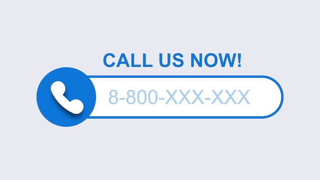Rufen sie uns jetzt vorlage an. blauer mobilanruf mit teilnehmernummer