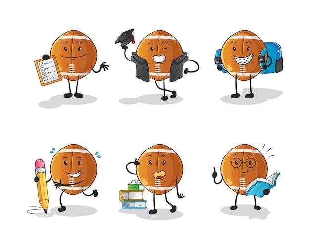 Rugby ball bildung set charakter. cartoon maskottchen
