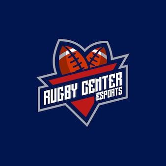Rugby center esport- und sport-logo-emblem