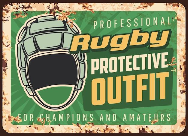 Rugby-schutzausrüstung und ausrüstung rostige metallplatte. kopfbedeckung, scrum cap und typografie. rugby-profi, werbung für schutzausrüstung, retro-banner mit kopfschutz und roststruktur