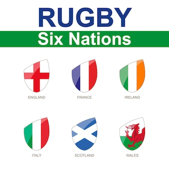Rugby six nations championship, 6 flaggen