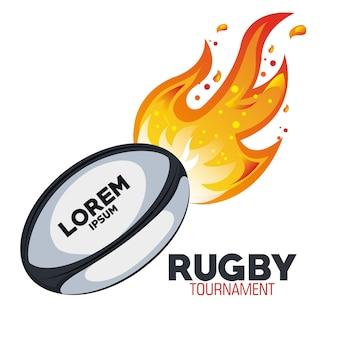 Rugby-zielturnier mit flammen
