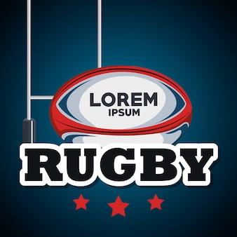 Rugbyball und blauer hintergrund des pfostenziels mit stern