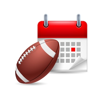 Rugbyball und kalender