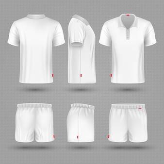 Rugbykurzschlüsse und weißer leerer mann des t-shirts tragen uniformsatz zur schau.