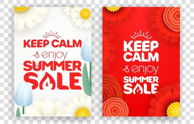 Ruhe bewahren und sommerschlussverkauf genießen. vertikale fahnen des roten und weißen vektors eingestellt