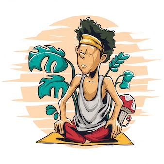 ruhe in der yoga-illustration