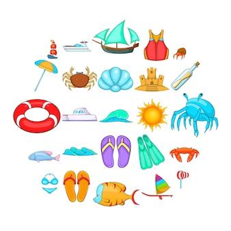 Ruhen sie sich auf dem schiff icons set aus. karikatursatz von 25 rest auf den schiffsikonen