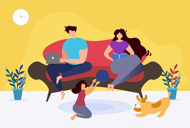 Ruhen sie sich aus und entspannen sie sich zu hause thematische familien-karikatur.