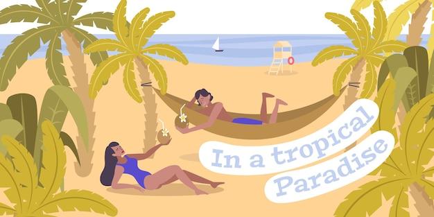 Ruhen sie sich in der flachen illustration des tropischen paradieses mit sonnenanbetern in der hängematte am südstrand des ozeans aus