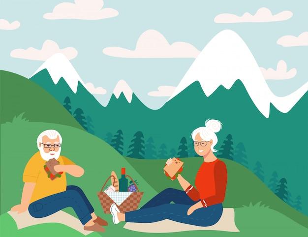 Ruhestandspaar, das picknick in den bergen hat glückliche ruhestandswohnungsskizzenillustration. älterer mann und frau sitzen auf boden.