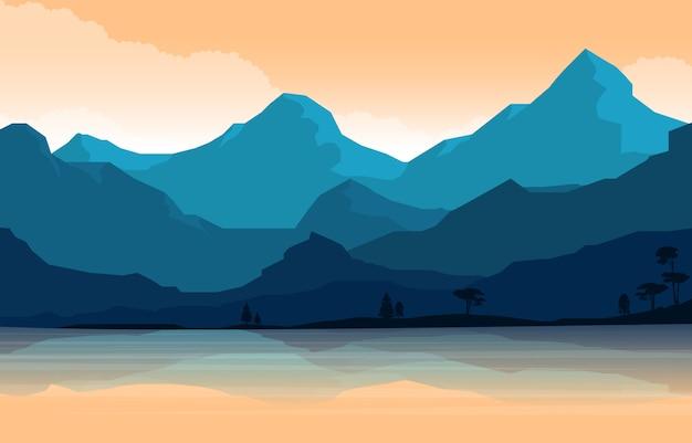 Ruhige bergwaldwilder naturszenenlandschafts-monochrome illustration