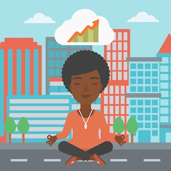 Ruhige geschäftsfrau, die yoga tut.