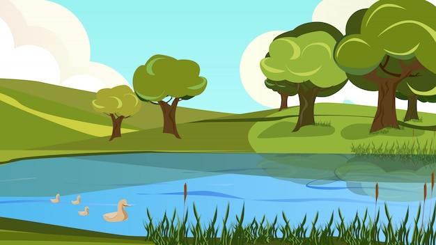 Ruhige landschaftsansicht der karikatur von flussufer-bank
