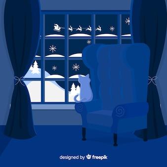 Ruhiger nachtweihnachtshintergrund