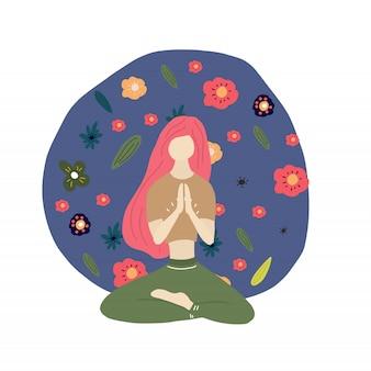 Ruhiges yogamädchen und blumen