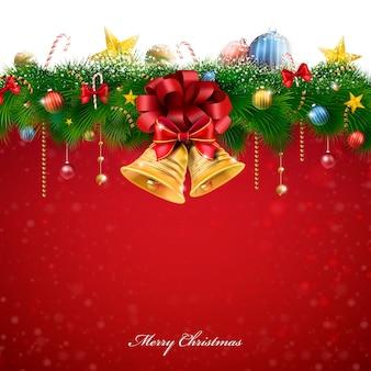Ruhm weihnachtsdekorationen und glocken über rotem hintergrund