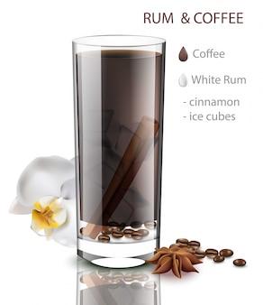 Rum und kaffee trinken mit zimtgeschmack. getränkemischung in realistischen gläsern