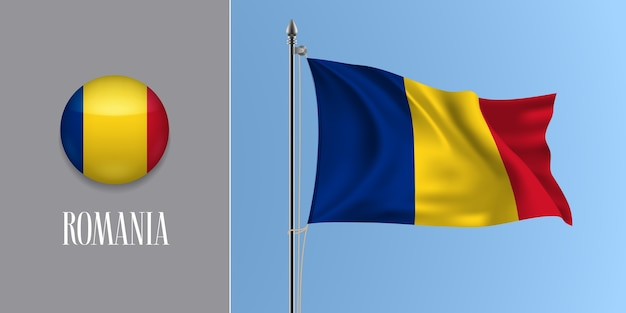 Rumänien, die flagge auf fahnenmast und runder symbolillustration winken