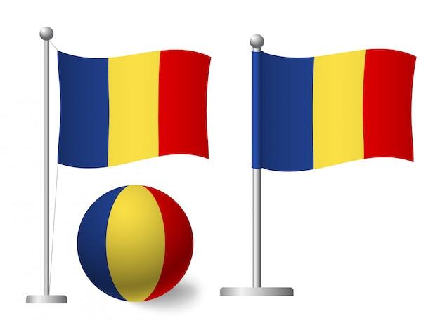 Rumänien flagge auf stange und ballikone