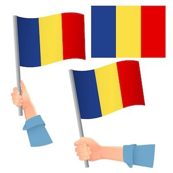 Rumänien flagge in hand gesetzt
