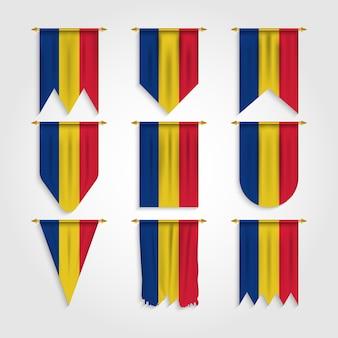 Rumänien flagge mit verschiedenen formen, flagge von rumänien in verschiedenen formen