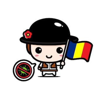 Rumänien junge mit flagge gegen virus