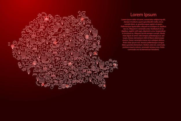 Rumänien-karte aus roten und leuchtenden sternensymbolen mustersatz von seo-analysekonzept oder entwicklung, geschäft. vektor-illustration.